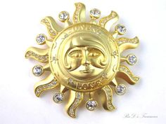 "Retired+KIRKS+FOLLY+""ONE+LOVE""+Large+SUN+Brooch+Pendant+Gold+Tone+Rhinestones+"