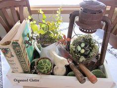 Container Vignette Ideas www.organizedclutterqueen.blogspot.com
