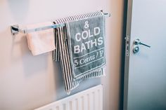 BATHROOM  Grey and stripy towels are from @hm Home Pink towel is from @yvesdelorme   PAINT by @farrowball  Walls - Calluna Door - Plummett