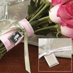 Rememberance charm. This is such a good idea to let your loved one lost be with you on your wedding day.