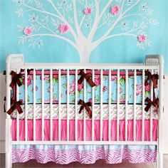 Love the tree in the back ground. Want to do something like this order in the girls room :o)    Finley 3-Piece Crib Bedding Set