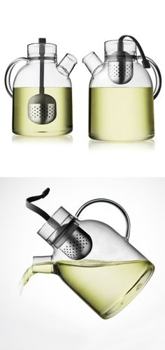Modern tea kettle // simply pull up the infusing filter when tea is brewed and ready to pour #product_design