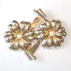 $16.00  Large STERLING Silver Double FLOWER Pearl Center Pin by feathersoup on Etsy