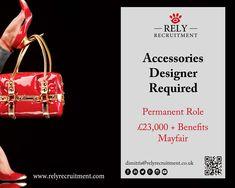 Accessories Designer required : Perm role! Luxury Retail Company. Mayfair. £20-23K per annum. Send your CV to dimitris@relyrecruitment.co.uk   #fashiondesigner #accessoriesdesigner #clothingdesigner #garmentdesigner #knitweardesigner