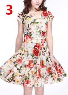 47f5c4a301dc New 2015 Women Spring Boho Asymmetrical One-piece Floral Print Plus Size  Clothing V-neck Short-sleeve Summer Beach Dress