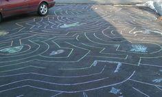 Making chalk mazes to walk through on the driveway!