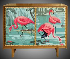 Mid 20th Century Teak Cabinet with Flamingo Glazed Doors