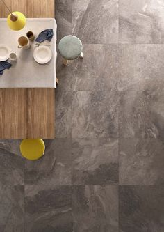 Bistrot Collection: Fine stone and marble effect stoneware Grey Flooring, Stone Flooring, Floors, Industrial Interior Design, Grey Tiles, Marble Effect, Eclectic Design, Construction Materials, Modern Kitchen Design