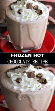 #BEST #DRINK #FROZEN #HOT #CHOCOLATE #RECIPE Delicious and healthy family choice special food and drink FROZEN HOT CHOCOLATE RECIPE 3-Ingredient Frozen Hot Chocolate - this drink takes a minute to make and is SO delicious!! All you need is some milk, hot cocoa packets, and ice and of course some cool whip and chocolate curls for topping! #Best #Vegan #Recipes! #BestVeganRecipes!