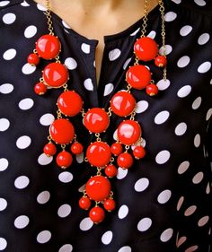 Never would have thought to put this statement necklace with polka dots! I have this necklace in aqua and am excited to wear it with dots like this! Cute!