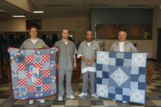 Men with Quilts Image - Jefferson City Correctional Center, a maximum-security prison Inmates in quilting program