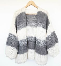♡ Milky white & grey with a silver spark ♡ Girls Sweaters, Sweaters For Women, Big Knits, Mohair Sweater, Cardigan Pattern, Knit Fashion, Pulls, Knitting Projects, Knitwear