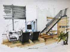 Home Decoration For Living Room Interior Design Renderings, Interior Rendering, Interior Sketch, Landscape Sketch, Landscape Architecture Design, Interior Architecture, Drawing Architecture, Architecture Graphics, Interior Presentation