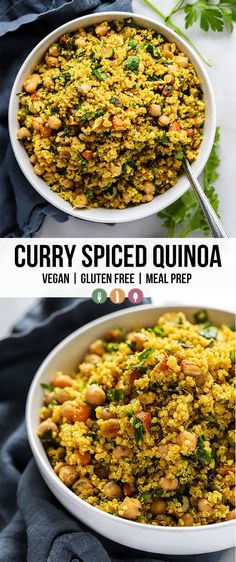quinoa recipes This simply curry spiced quinoa is spiced with curry powder and loaded with add-ins like raisins, chickpeas, and fresh herbs. It also packs well for meal prepping for lunch! Quinoa Dishes, Veggie Dishes, Veggie Recipes, Food Dishes, Indian Food Recipes, Yummy Recipes, Whole Food Recipes, Vegetarian Recipes, Healthy Recipes