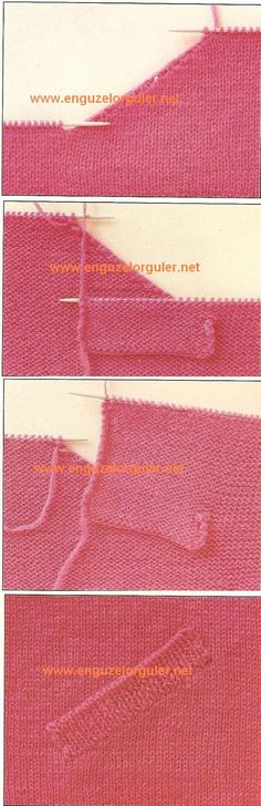 I like this technique. No English explanation, but good pictures Knitting Videos, Knitting Stitches, Knitting Needles, Knitting Designs, Knitting Patterns Free, Knit Patterns, Sweater Design, Knit Crochet, Sewing