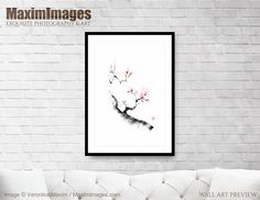 Art Print of Sumi-e painting of a budding cherry blossom branch with budding flowers Buy this Wall Art at MaximImages Wall Art Prints, Fine Art Prints, Zen Home Decor, Sumi E Painting, Quality Photo Prints, Rice Paper, Paper Background, Fine Art Paper, Cherry Blossom