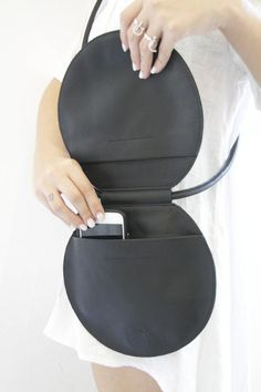 Round Black Leather Bag Circle Bag Round Bag Round Evening Clutch Circle Crossbody Bag Round Purse Unique Shoulder Bag Circle Purse Agnes G Black Leather Crossbody Bag, Black Leather Bags, Leather Purses, Brown Leather, Diy Purse Crossbody, Leather Handbags, Diy Clutch, Clutch Bags, Leather Tassel