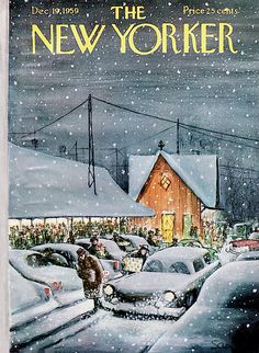 The New Yorker Cover - December 1959 (art by Charles Saxon). - New Yorker Cover Quiz The New Yorker, New Yorker Covers, Christmas Cover, Christmas Past, Xmas, 1950s Christmas, Christmas Toys, Illustration Noel, Christmas Illustration
