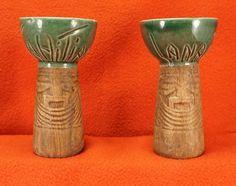 lot of 2 vintage Waikiki Hawaiian Tahitian Lanai PALM TREE Tiki mugs  minty 3 S