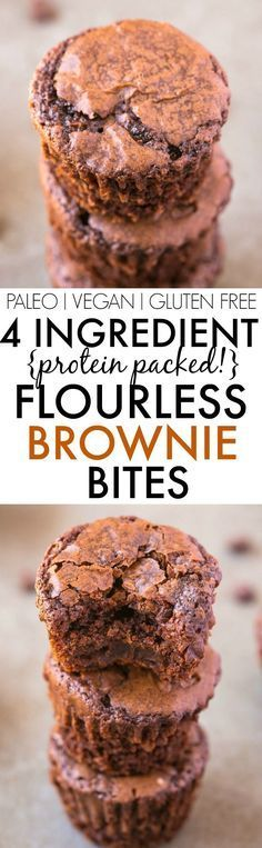 Healthy FOUR ingredient Flourless Protein Packed Brownie Bites- NO butter, oil, grains or flour needed to make these rich, dense, subtly sweet brownies packed with protein- A quick and easy snack which DON'T taste healthy! vegan, gluten free, refined sug