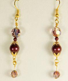Earrings, crystal earrings, crystal jewelry, Swarovski crystals, Swarovski pearl, Swarovski earrings, Swarovski jewelry, amethyst earrings by EarringsBraceletsEtc on Etsy
