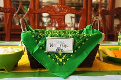 John Deere Birthday Party - Tater Chips love the bandana and the country place card