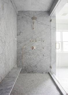 Shower bench on long wall. Gray Marble Slab Shower Surround with Long Floating Shower Bench, Transitional, Bathroom Shower Seat, Shower Floor, Huge Shower, Shower Mirror, Shower With Bench, Shower Benches, Shower Walls, Shower Base, Bad Inspiration