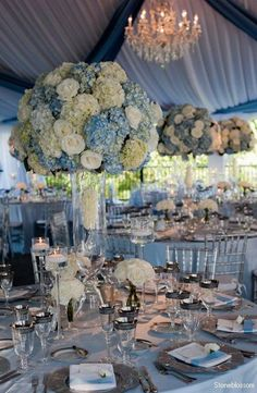 Reception Decorations in Serenity blue. I think I would accent with Pantone's 2nd color of Rose Quartz. IMO, this just needs a pop of another color??? More