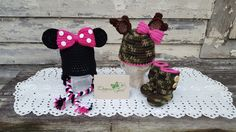 Crochet by Dugan's Girls {mouse earflap hat, antler camo hat & classic camo boots}
