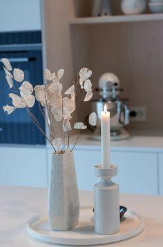 Kjøkkenet vårt – Villafunkis.no Decor, Furniture, Candles, Taper Candle, Table, Home Decor, Table Decorations