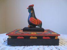 Vintage Antique Hand Carved Hand Painted Wood Box Folk Art Primitive Rooster | eBay