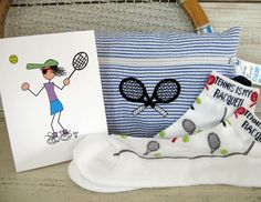 Tennis Gift Set ON SALE! - Navy Blue Stripe Cosmetic Tennis Bag, Tennis Socks and Pack of Tennis Cards #143 by TennisGiftsToGo on Etsy