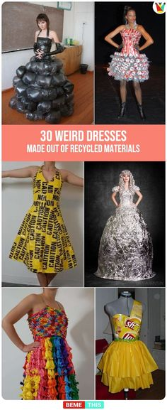 30 Weird Dresses Made Out Of Recycled Materials #BemeThis #Recycling #Crafts #RecycledMaterials #Weird #Bizarre #Clothing #PlasticBags #WearableArt