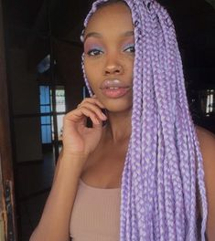 Top 60 All the Rage Looks with Long Box Braids - Hairstyles Trends Box Braids Hairstyles For Black Women, French Braid Hairstyles, African Braids Hairstyles, Braids For Black Women, Purple Box Braids, Colored Box Braids, Long Box Braids, Twists, Curly Hair Styles
