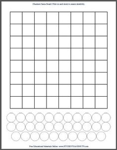 Blank White DIY Checkers Game Checkerboard Template