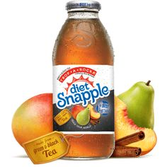 Snapple Trop*A*Rocka - Mango, pear, papaya, and cinnamon flavors got together with fresh tea leaves and started a rocking band. Their tropical taste was a sure-fire hit so we bottled this unique combination of the Best Stuff on Earth to make a Diet Snapple tea that will raise the roof on your taste buds. Trop-a-rocka-roll!