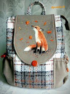 Fox Decor, Animal Bag, Diy Handbag, Fancy Hats, Craft Bags, Patchwork Bags, Cute Bags, Fabric Painting, Handmade Bags