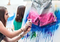 DIY: ombre & splatter paint shorts