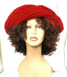 Gift for Women Floppy Hat Womens Crochet Hat Crochet Womens Hat Trendy Red Hat Womens Winter Hat FRONTIER Wide Brim Hat by strawberrycouture by #strawberrycouture on #Etsy