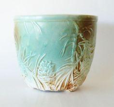 Vintage McCoy Pottery Aqua Umber Pine Cone Rustic Footed Planter Jardiniere