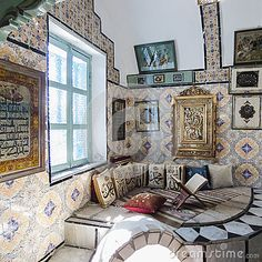 Room in the traditional building in Tunis , Tunisia. Africa.