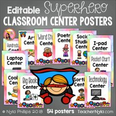Editable Center Posters - 54 Poster Sized Classroom Labels - Superhero Theme