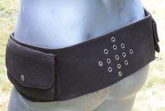 Leather Pocket Belt w/grommet design in DARK BROWN  in by dwanjabi, $58.00