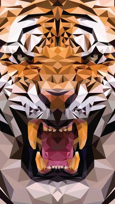 Funny pictures about Geometric Tiger Made From Triangles. Oh, and cool pics about Geometric Tiger Made From Triangles. Also, Geometric Tiger Made From Triangles photos. Art And Illustration, Geometric Tiger, Geometric Shapes, Polygon Pattern, Polygon Art, Ps Wallpaper, Tiger Wallpaper Iphone, The Meta Picture, Tiger Art