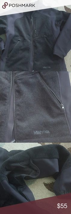 Marmot jacket Black Marmot  wool jacket size large for mens with zipp under the arm show pictures in good condition Marmot Jackets & Coats Trench Coats