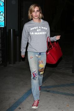 Emma Roberts wearing Kaizen Paris Avec L'art Sweatshirt, Longchamp Le Pliage Heritage Satchel Bag and Converse Chuck Taylor All Star High Top Sneakers