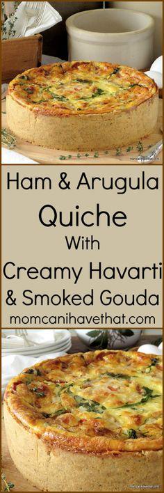 Ham & Arugula Quiche with Creamy Havarti & Smoked Gouda Cheese | low carb, gluten-free |