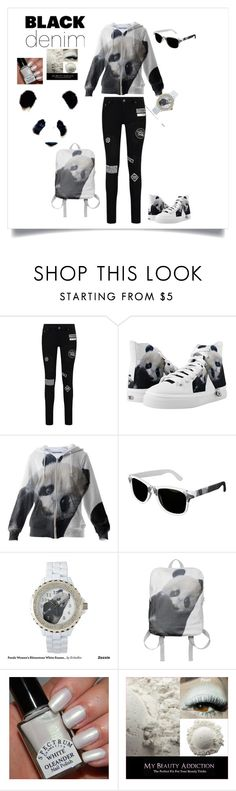 """""""Denim Trend: Black Jeans Panda"""" by erikakaisersot ❤ liked on Polyvore featuring women's clothing, women's fashion, women, female, woman, misses, juniors, zazzle, blackdenim and paom"""