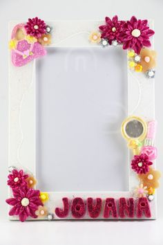 Make Up Photo Frame, Personalized Frame, Kids Photo Frame, Girls Room Decor, Flower Photo Frame,  Frame with Name, Picture Frame for girls