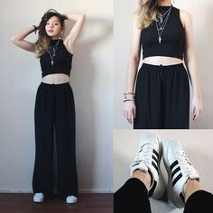 Duygu CM - Adidas Sneakers, H&M Top, Thrifted Necklaces, H&M Earings, Thrifted Pants - Black Widow